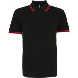 Vêtements Homme Polos manches courtes Asquith & Fox Classics Noir/rouge