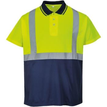 Vêtements Homme Polos manches courtes Portwest  Jaune/Bleu marine