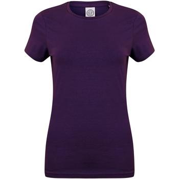 Vêtements Femme T-shirts manches courtes Skinni Fit Stretch Violet profond