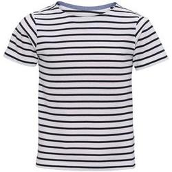 Vêtements Enfant T-shirts manches courtes Toutes les chaussures femme Mariniere Blanc/Bleu marine