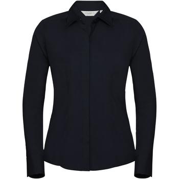 Vêtements Femme Chemises / Chemisiers Russell Chemise à Manches Courtes manches longues en popeline BC1017 Bleu marine