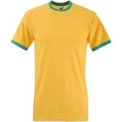 Vêtements Homme T-shirts manches courtes Fruit Of The Loom 61168 Jaune foncé/ Vert tendre