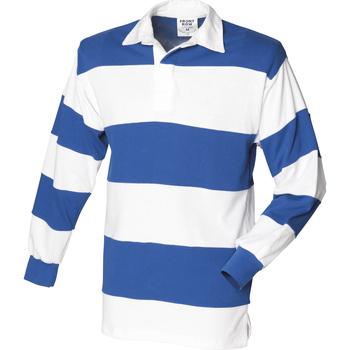 Vêtements Homme Polos manches longues Front Row Rugby Blanc/Bleu roi (col blanc)