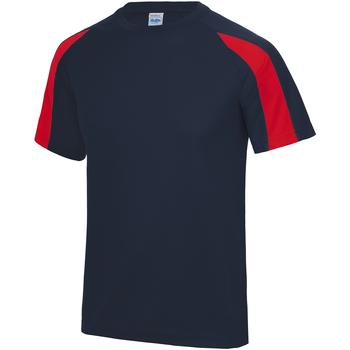 Vêtements Enfant T-shirts manches courtes Just Cool Contrast Bleu marine/Rouge feu