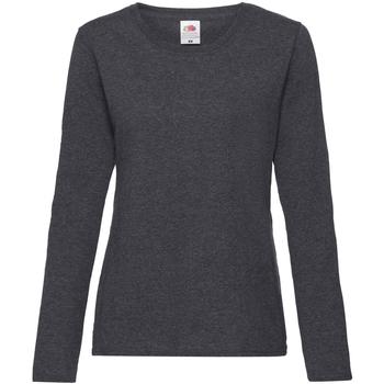 Vêtements Femme T-shirts manches longues Fruit Of The Loom 61404 Gris foncé chiné