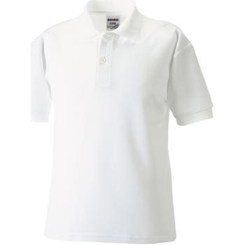 Vêtements Garçon Polos manches courtes Jerzees Schoolgear Pique Blanc
