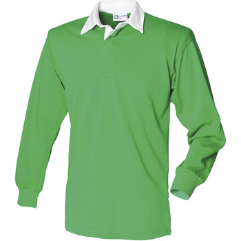 Vêtements Homme Polos manches longues Front Row Rugby Vert vif/Blanc