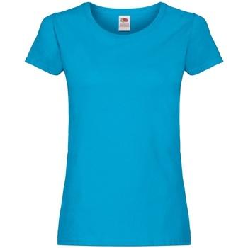Vêtements Femme T-shirts manches courtes Fruit Of The Loom Original Bleu azur