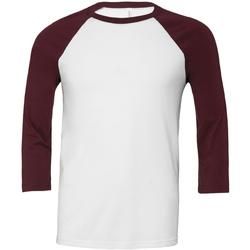 Vêtements Homme T-shirts manches longues Bella + Canvas Baseball Blanc / bordeaux