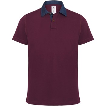 Vêtements Homme Polos manches courtes B And C BA803 Denim/Bordeaux