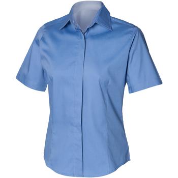 Vêtements Homme Chemises manches courtes Henbury Oxford Bleu