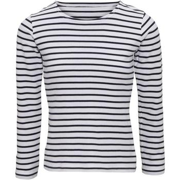 Vêtements Femme T-shirts manches longues Asquith & Fox Mariniere Blanc / bleu marine
