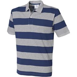 Vêtements Homme Polos manches courtes Front Row Pique Gris chiné/Bleu marine