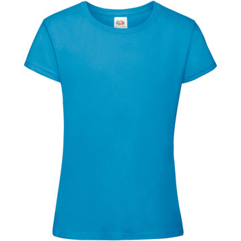 Vêtements Fille T-shirts manches courtes Fruit Of The Loom Sofspun Bleu azur