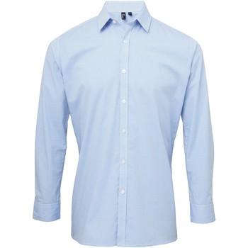 Vêtements Homme Chemises manches longues Premier Microcheck Bleu clair/Blanc