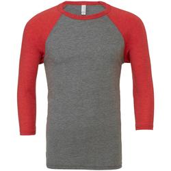 Vêtements Homme T-shirts manches longues Bella + Canvas Baseball Gris / rouge