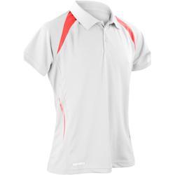 Vêtements Homme Polos manches courtes Spiro Performance Blanc/Rouge
