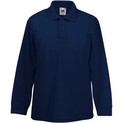 Vêtements Garçon Polos manches longues Fruit Of The Loom Pique Bleu marine