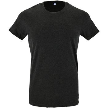 Vêtements Homme T-shirts manches courtes Sols Slim Fit Gris foncé chiné
