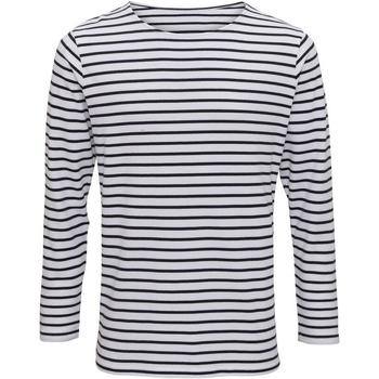 Vêtements Homme T-shirts manches longues Toutes les chaussures femme Mariniere Blanc/Bleu marine