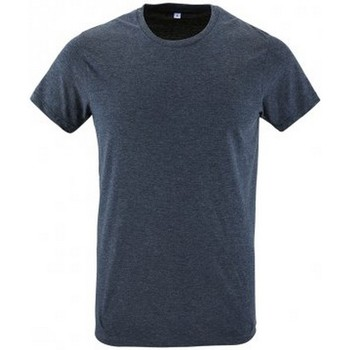 Vêtements Homme T-shirts manches courtes Sols Slim Fit Bleu chiné