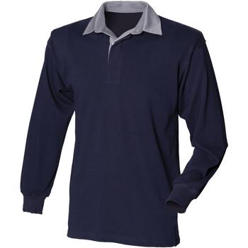 Vêtements Homme Polos manches longues Front Row Rugby Bleu marine/Col gris