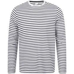 Vêtements T-shirts manches longues Skinni Fit Striped Blanc/bleu marine