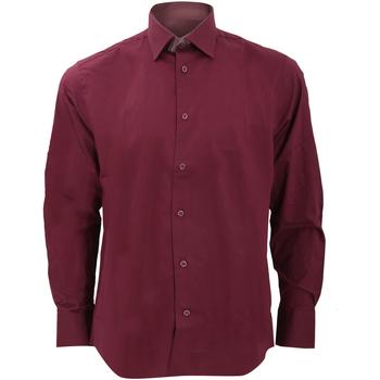 Vêtements Homme Chemises manches longues Russell Collection Chemise à manches longues BC1031 Bordeaux