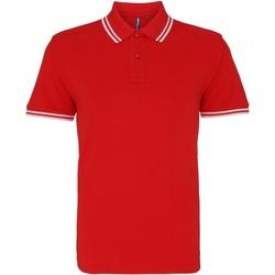 Vêtements Homme Polos manches courtes Asquith & Fox AQ011 Rouge/blanc