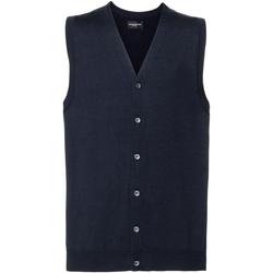 Vêtements Homme Gilets / Cardigans Russell Collection gilet débardeur sans manche avec col en V RW6080 Bleu marine