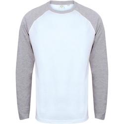 Vêtements Homme T-shirts manches longues Skinni Fit Baseball Blanc/gris chiné