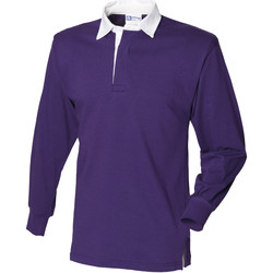 Vêtements Homme Polos manches longues Front Row Rugby Pourpre profond/Blanc