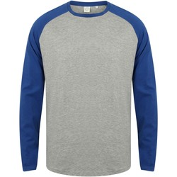 Vêtements Homme T-shirts manches longues Skinni Fit Baseball Gris chiné/bleu roi