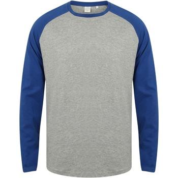 Vêtements Homme T-shirts manches longues Skinni Fit Baseball Gris chiné / bleu roi