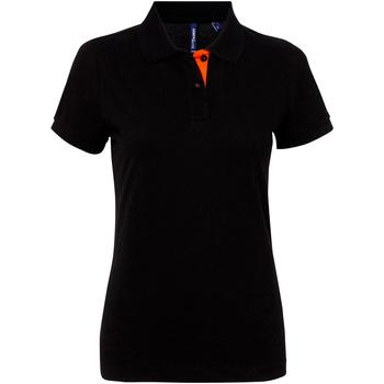 Vêtements Femme Polos manches courtes Asquith & Fox Contrast Noir/Orange