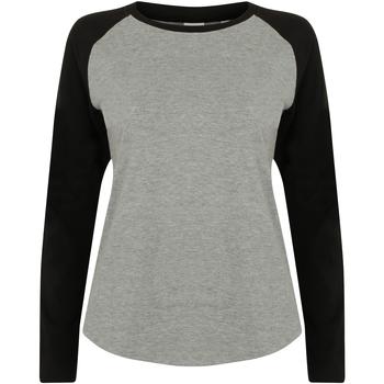 Vêtements Femme T-shirts manches longues Skinni Fit Baseball Gris chiné/Noir