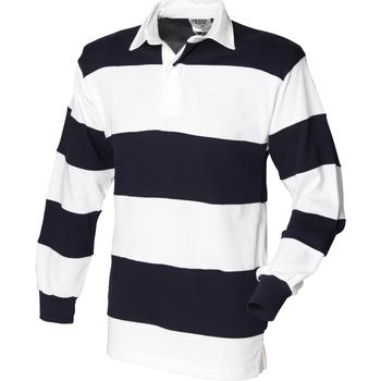 Vêtements Homme Polos manches longues Front Row Rugby Blanc/Bleu marine (col blanc)