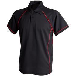 Vêtements Homme Polos manches courtes Finden & Hales Piped Noir/Rouge