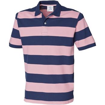 Vêtements Homme Polos manches courtes Front Row Pique Bleu marine/Rose