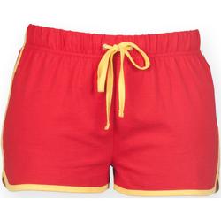 Vêtements Femme Shorts / Bermudas Skinni Fit Retro Rouge/Jaune