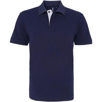 Vêtements Homme Polos manches courtes Asquith & Fox Contrast Bleu marine/Blanc