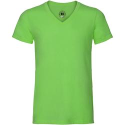 Vêtements Homme T-shirts manches courtes Russell Tshirt à manches courtes et col en V RW4807 Vert chiné