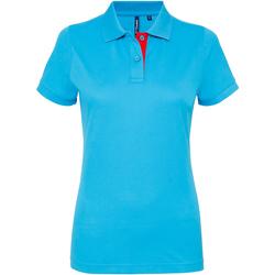 Vêtements Femme Polos manches courtes Toutes les chaussures femme Contrast Turquoise/Rouge