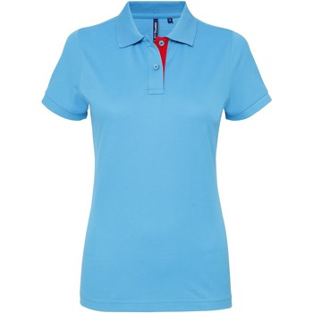 Vêtements Femme Polos manches courtes Asquith & Fox Contrast Turquoise/Rouge