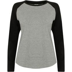 Vêtements Enfant T-shirts manches longues Skinni Fit Baseball Gris chiné/Noir
