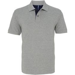 Vêtements Homme Polos manches courtes Asquith & Fox Contrast Gris/Bleu marine