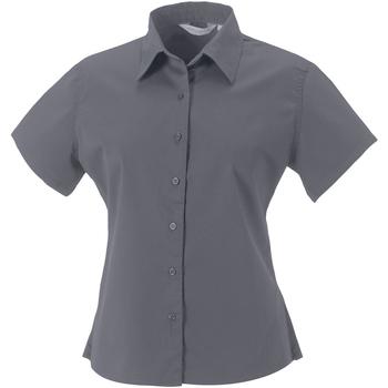 Vêtements Femme Chemises / Chemisiers Russell Collection Chemisier classique 100% coton à manches courtes Zinc