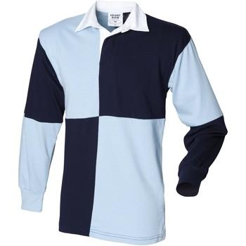 Vêtements Homme Polos manches longues Front Row Rugby Bleu marine/Ciel (col blanc)