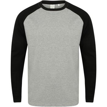 Vêtements Homme T-shirts manches longues Skinni Fit Baseball Gris chiné/noir