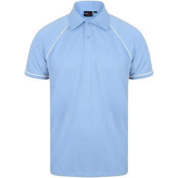 Vêtements Homme Polos manches courtes Finden & Hales Piped Bleu ciel/Bleu marine/Blanc